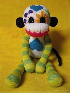 Sock Monkey : Dia De Los Muertos – Sugar Skull Stuffed Monkey Doll – Yellow and Green LimbsEtsy @ REBELalaMODE