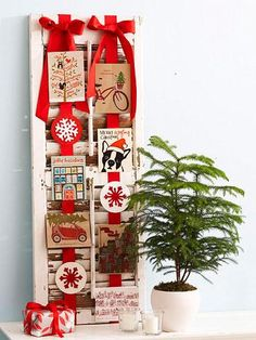 Christmas Card Display Ideas - Salvaged Shutter Christmas Is Coming, Simple Christmas, Christmas Holidays, Christmas Crafts, Christmas Decorations, Holiday Decor, Christmas Trees, Holiday Ideas, Display Homes