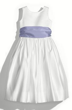 Girl's Us Angels White Tank Dress with Satin