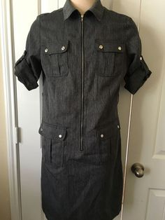 Shelby & Palmer - Ladies Dress - Size 14 - Solid Grey w/ Zipper Front & Pockets #ShelbyPalmer