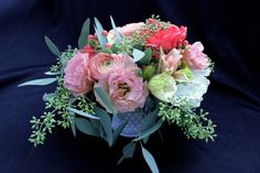 Valentine's arrangement with ranunculus and lisianthus