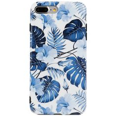 Dark Blue Leaf Printed IPhone Case (16 CAD) ❤ liked on Polyvore featuring accessories, tech accessories, phone cases, tech, electronics, phone, iphone cover case and iphone sleeve case