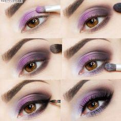 Tutorial per occhi marroni dalle sfumature rosa-viola, semplice da realizzare passo dopo passo http://www.vanitylovers.com/prodotti-make-up-occhi.html?utm_source=pinterest.com&utm_medium=post&utm_content=vanity-occhi&utm_campaign=pin-mitrucco