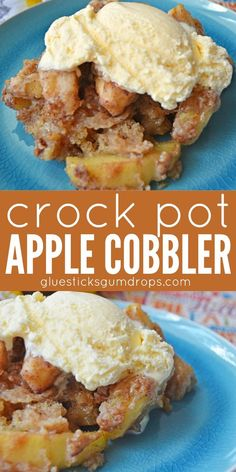 One of your favorite desserts in the convenience of a slow cooker! Enjoy some warm crock pot apple cobbler with a big scoop of vanilla ice cream in just a couple of hours! and Drink slow cooker Crock Pot Apple Cobbler - Glue Sticks and Gumdrops Crockpot Dessert Recipes, Crock Pot Desserts, Slow Cooker Desserts, Crockpot Dishes, Crock Pot Cooking, Healthy Crockpot Recipes, Cooking Recipes, Healthy Food, Easy Apple Desserts
