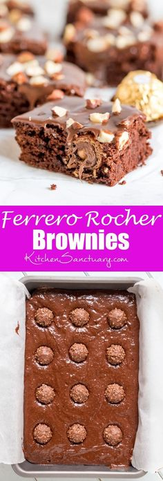These Ferrero Rocher Brownies are the ultimate treat to go with your afternoon cup of coffee! | Kitchen Sanctuary
