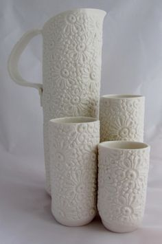 Stephanie Earl - porcelain lace textured jug and beakers Ceramic Pitcher, Ceramic Cups, Ceramic Art, Pottery Bowls, Ceramic Pottery, Pottery Ideas, Slab Pottery, Pottery Handbuilding, Advanced Ceramics