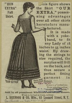 Items similar to 1888 Adjustable Victorian Fall Petticoat or Skirt- Made To Order on Etsy 1880s Fashion, Edwardian Fashion, Punk Fashion, Vintage Fashion, Victorian Era Dresses, Edwardian Era, Antique Clothing, Historical Clothing, Ap Studio Art