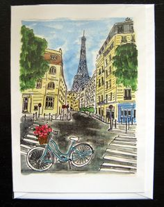 La Tour Eiffel Blue Bicycle by fififlowers on Etsy, $5.00