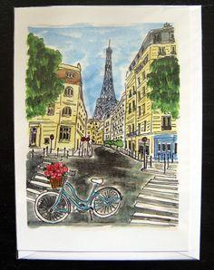 Paris, Eiffel Tower, Blue Bicycle