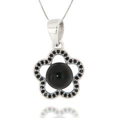 Black onyx and spinel flower pendant with chain
