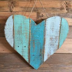 pallet wood heart 1 ft x 1 ft approx.  shades of blue.