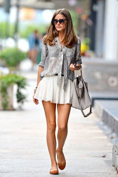 Olivia P: Animal print blouse + white skirt + tan flats