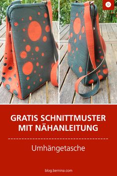 Sewing instructions shoulder bag - with free sewing pattern- Näh-Anleitung Umhängetasche – mit Gratis-Schnittmuster Free sewing pattern with sewing instructions for a shoulder bag - Bag Patterns To Sew, Sewing Patterns Free, Free Sewing, Pattern Sewing, Sewing Hacks, Sewing Tutorials, Sewing Tips, Craft Free, Patchwork Bags