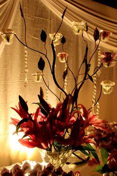 Iluminação mesa do bolo - decoração de casamento Branco e Rosa