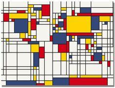 World Map in the manner of Piet Mondrian