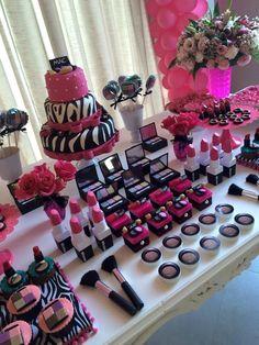 fiesta de maquillaje9 Spa Birthday, Makeup Birthday Parties, Barbie Birthday, Barbie Party, 10th Birthday Parties, Makeup Birthday Cakes, Birthday Party Themes, Zebra Birthday, Birthday Table