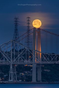 ˚Balance - One last look at the recent full moon before it set over the Carquinez Bridge....California