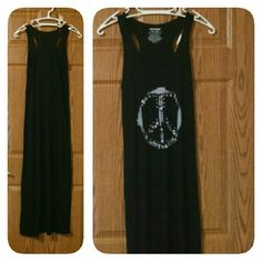 peace sign maxi dress NWOT ! very comfortable maxi dress. i am 5'3 and it was too long for me. beautiful white peace sign on the front of the dress. has silver rhinestones for added detail, all in tact. just bought it & never wore it. joe boxer Dresses Maxi