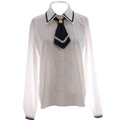 Partiss Women's Sailor Tie Collar Uniform Classic Sweet Lolita Blouse, One Size, White at Amazon Women's Clothing store: