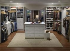 Square Walk in Closet with Seating & Dressing Table