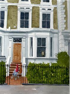 Rob Thorpe Artist Artwork Gallery beautiful affordable house portraits in watercolour watercolor Watercolor Landscape, Watercolor Paintings, Watercolours, Kensington House, London Landmarks, London House, Love Illustration, Traditional Paintings, London Art