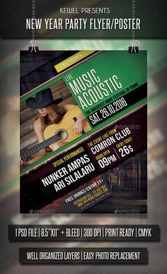 Live Music Acoustic Flyer Template PSD #design Download: http://graphicriver.net/item/live-music-acoustic-flyer-templates/13664407?ref=ksioks