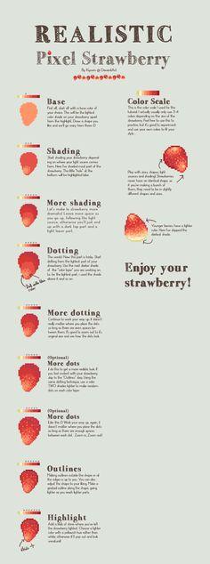 Realistic Pixel Strawberry tutorial by Kiyorin.deviantart.com on @deviantART