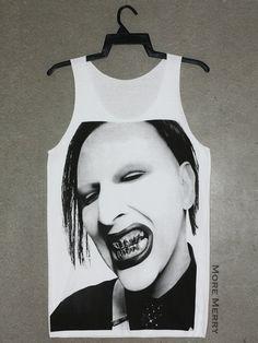 Marilyn Manson Singer Music Tee Tank Top Vest Tunic White Singlet Sleeveless Women Shirt Indie Horror Punk Rock T-Shirt Size S-M