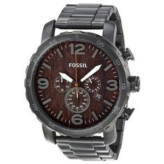 Fossil Men's Nate Chronograph Stainless Steel Watch (Smoke) - JR1355