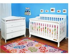 Baby Cribs With Changing Table Furniture Drawers Convertible Bed White Pine Wood #AFG #Convertible