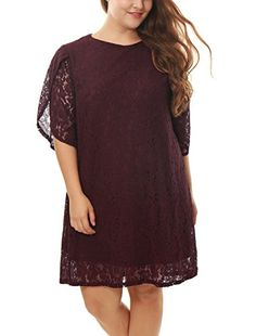 Agnes Orinda Women Plus Size Tulip Sleeves Floral Lace Shift Dress Purple 3X >>> Click image to review more details. (This is an affiliate link and I receive a commission for the sales)