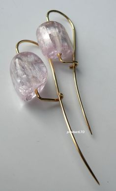 Tina Chow Signed 18K Yellow Gold Kunzite Drop Dangle Earrings 2 4 Pairs | eBay