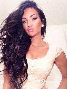Gorgeous Long Dark Brown Hair with Curls - Makeup