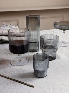 Ferm Living Ripple Long Drink Glasses Set of 4 - Smoked Grey on Garmentory Carafe, Everyday Glasses, Maurer, Long Drink, Muuto, Design Bestseller, Kartell, Grey Glass, Glass Collection