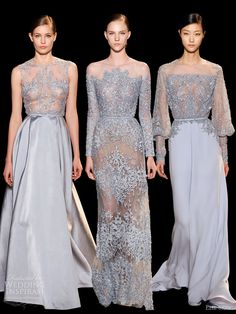 elie saab spring 2013 couture lavender blue dresses embroidered bodice