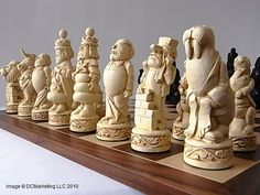 Alice in Wonderland chess set.