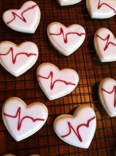 ECG cookies! I am hoping someone will make these for my graduation party haha .... #Valentinecookies