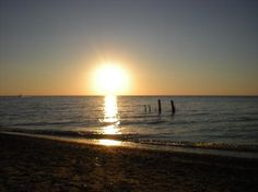 Sunset at the private beach at Oakwood Inn Resort, Grand Bend