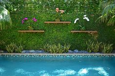 Oh! I just adore this quirky-cool little backyard nook. The little planting shelves, the tiling on the pool - it all fits together beautifully. Design by Bell + Aqui Landscape Architecture in Miami, FL. See more photos of backyard landscaping here: http://www.landscapingnetwork.com/backyard-ideas/