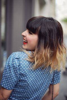 Short brown hair with blonde dipped tips. I'd love to have this except a more gradual colour fade and not so blonde.