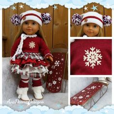 "Winter Christmas  complete outfit clothes for 18 inch doll american girl doll and 19"" Trinket Box dolls includes sled!! by AvaDeenaDesigns on Etsy"