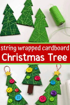 This Christmas tree ornament craft uses recycled cardboard and wrapped string to make adorable ornaments easy enough for toddlers and preschoolers to make. Recycled Christmas Decorations, Recycled Christmas Tree, Cardboard Christmas Tree, Christmas Ornament Crafts, Christmas Buttons, Tree Decorations, Christmas Crafts For Toddlers, Preschool Christmas, Toddler Christmas