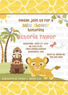 Lion king simba baby shower invitations safari animals jungle lion king pink baby shower invitation filmwisefo Gallery