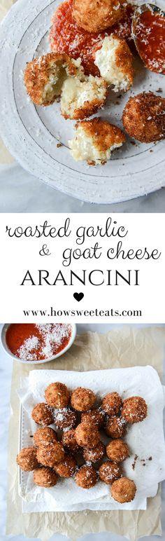 roasted garlic and goat cheese arancini I howsweeteats.com