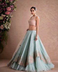 Latest Designer Wedding Lehenga Designs for Indian Bride Sky Blue Layered Embroidered Designer Lehenga Choli Indian Gowns Dresses, Indian Fashion Dresses, Indian Designer Outfits, Pakistani Dresses, Designer Dresses, Designer Bridal Lehenga, Bridal Lehenga Choli, Lehnga Dress, Lehenga Blouse