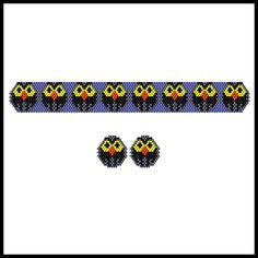 Halloween Owlets Skinny Bracelet & Earrings | Bead-Patterns.com