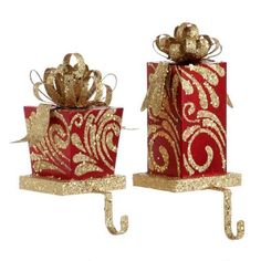 Stocking Holder set/2  Red & Gold Present Shape pd 3138078 NEW RAZ Christmas