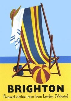 Vintage Railway Advertising rail travel poster RE PRINT Brighton (D. Posters Uk, Train Posters, Beach Posters, Railway Posters, Art Deco Posters, Poster Ads, Poster Vintage, Vintage Travel Posters, Vintage Art