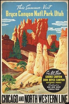 Bryce Canyon Mixed Media - This Summer - Visit Bryce Canyon National Par, Utah, Usa - Retro Travel Poster - Vintage Poster by Studio Grafiikka Old Poster, Poster Ads, Poster Prints, Art Posters, Train Posters, Retro Posters, Advertising Poster, Art Prints, Bryce National Park