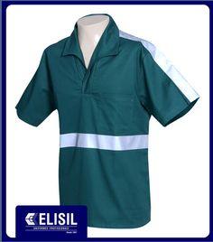 Camisa Profissional gola italiana M/C com faixa refletiva no tórax, costa e mangas